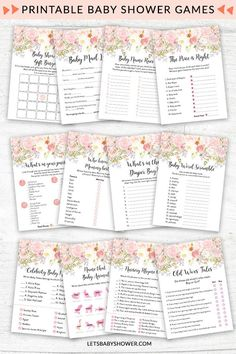 Floral Baby Shower Game Pack: Blush Floral Watercolor | Let's Baby Shower