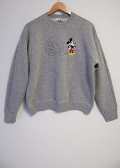 ad203c4a Vintage Disney Mickey Mouse Embroidered and Two Sketch Drawings of Mickey  Gray Sweatshirt- Size Wome