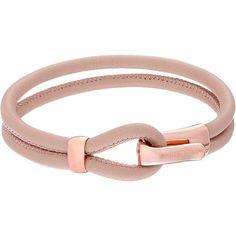 Michael Kors Leather Hook Eye Bracelet (Rose Gold/Buff) Bracelet ($48) ❤ liked on Polyvore featuring jewelry, bracelets, pink, rose gold jewelry, rose gold jewellery, rose gold bangle, pink gold jewelry and pink bangles