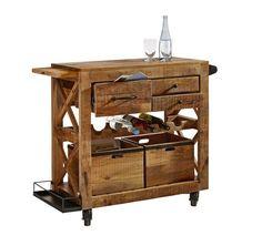 Rustikaler Servierwagen mit Weinregal: für Ihre urige Wohnküche