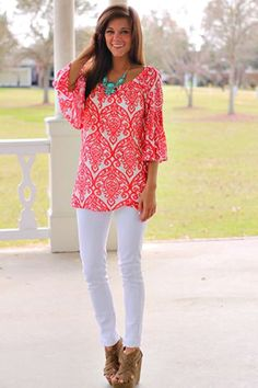 How to wear white jeans. Love the coral and turquoise color combo!  || Modest Fashion || Modest Outfit Inspiration || LDS || Visit my Modest Style blog: modest-style.com ||