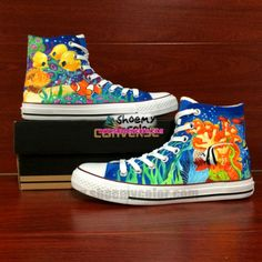 finding nemo shoes   Shoes' Converse Finding Nemo Fish School Hand Painted Canvas Blue High ...