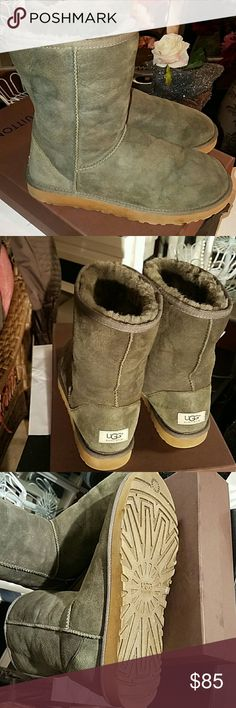 UGG Boots -Sz 10 EUC - Wore about 6 times last winter - Muted Green is the color- purchased from Victoria Secret UGG Shoes Ankle Boots & Booties