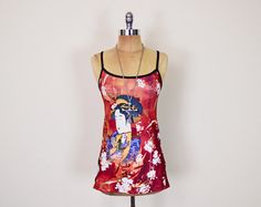 #Vintage #90s Red Black #Asian #Chinese #Oriental #Geisha Print #Tank Top #Cami Shirt Stretch 90s Top 90s #Grunge Top Club Kid Top XS Extra Small S #TankTop #ClubKid #Etsy #EtsyVintage #TrashyVintage @Etsy $28.00