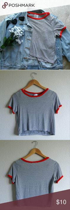 *NWOT* H&M/ Striped Ringer Crop Top *NWOT* A ringer crop top featuring a striped pattern, contrast red trim, a round neckline, and short sleeves. H&M Tops Crop Tops