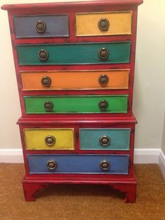 Amazingly colourful chest painted with Annie Sloan chalk paint by Janice ford of www.facebook.com/BureChic