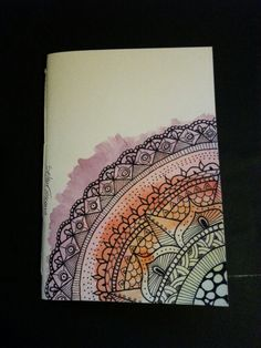 Illustrated notebook cover, zentangle design. Diy notebook A6 on recycled paper. Rainbow #03