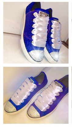 fb7d9110ade Women s Something blue royal sapphire sparkly Glitter Converse all star  shoes chucks Swarovski crystals rhinestones sneakers