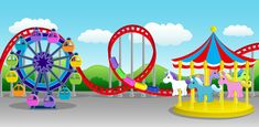 Illustrations  drawings amusement parks | Charming Amusement Park Scene
