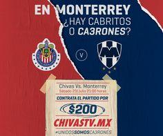 CHIVAS 'PROVOCA' A LA AFICIÓN DE RAYADOS Chivas publica un desplegado donde invitan de menera peculiar a los aficionados del Monterrey a ver el partido por Chivas Tv. El duelo se llevará a cabo el próximo sábado 23 en el estadio Chivas.