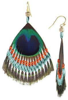 Taolei Beaded Peacock Feather Earrings
