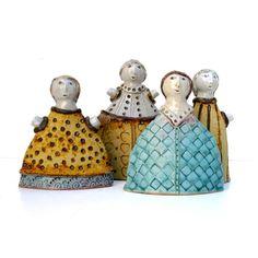 Ceramic SculptureTurquiose Dress Girl Figure by BlueMagpieDesign