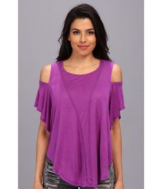 WE THE FREE by FREE PEOPLE COLD SHOULDER TEE PURPLE TOP T SHIRT XS NEW BOHO #FreePeople #KnitTop #Casual