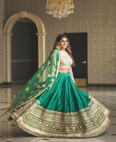 Heavy Net Lehenga Choli Embroidered Designer Blouse Lehenga Choli Indian Pakistani Bridal Wedding Dresses - Fashion Show Green Lehenga, Indian Lehenga, Indian Gowns, Indian Attire, Indian Ethnic Wear, Lehenga Choli, Anarkali, Silk Lehenga, Pakistani Bridal