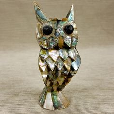 "Owl Abalone Shell 5"" Figurine Inlay Mosaic Artwork Statue Vintage Seashell"