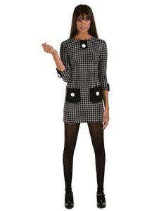 MARMALADE Retro 60s Graph Check Mod Dress in Black