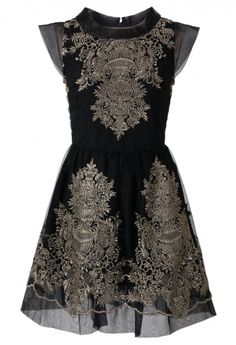 Organza Embroidery Black Dress