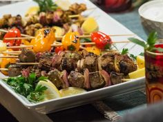 Get Spiced Beef and Chicken Kabobs with Cucumber Yogurt Recipe from Food Network