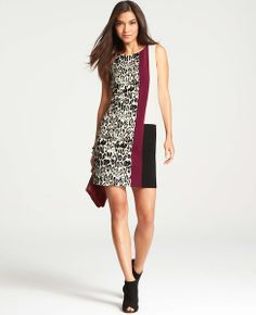 This color-blocked shift gets extra credit for adding a surprising (yet coordinating) element to the quad: Women's Leopard Jacquard Dress by @Ann Taylor