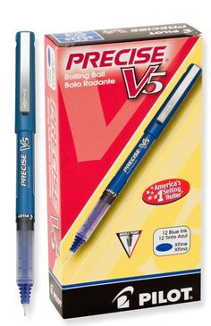Pilot Precise V5 Stick Rolling Ball Pens, Extra Fine Point, Blue Ink, Dozen Box (35335)