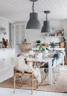 Uusi Kuu - Dining Room, Dining Table, Scandinavian Home, Sweet Home, Cabin, Ceiling Lights, Spaces, Country, Wood