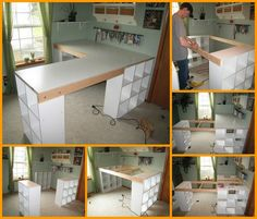 DIY Custom Craft Desk; Great genealogy desk.