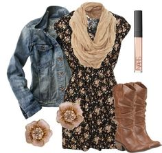 Dress: jean jacket jacket denim denim jacket floral floral flower flower earrings earrings boots