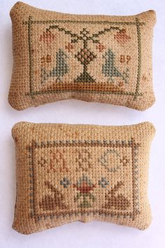 2 Small Sampler Pinkeeps Cross Stitch by Stitchcrafts on Etsy, $20.00