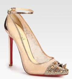 ad5f06d2245 Christian Louboutin  lace  spikes shoes Metallic Leather
