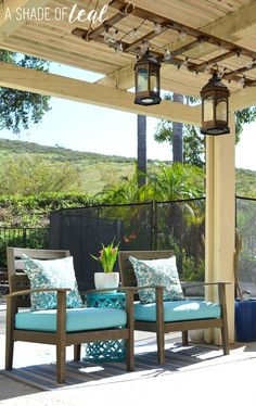 Our bloggers rock, almost as much as this fab patio makeover! Look at Katy's inspirations for help here: http://ashadeofteal.com/diy-ladder-light-centerpiece-outdoor-makeover-with-big-lots/
