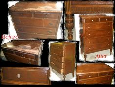antique dresser in very rough condition..now like new