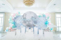 Moon Themed Dessert Spread from a Pastel Moon & Stars Birthday Party on Kara's Party Ideas | KarasPartyIdeas.com (19)