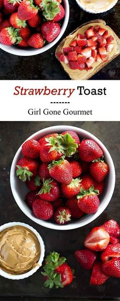 A slice of toast topped with creamy peanut butter and fresh strawberries is a quick and easy breakfast | girlgonegourmet.com
