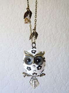Snow Chubby Owlette Owl Necklace  Antique Bronze by charmming.