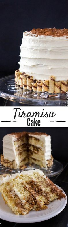 This Tiramisu Cake is THE BEST. Layers of light sponge cake, espresso and rum, and decadent mascarpone frosting!