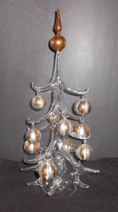 Parise Vetro Christmas Tree Table Top Hand Blown With 11 Ornaments Italy Vintage #PariseVetro