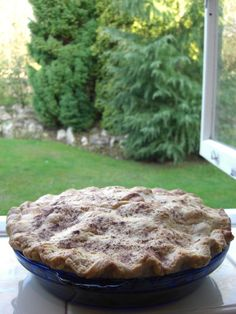 Apple pie cooling on the windowsill. Made with 10 little Gala apples