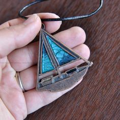 Marbling Painted Series Necklace, Blue, Copper , Handmade, Fantastic Pendant by UmayDesign on Etsy