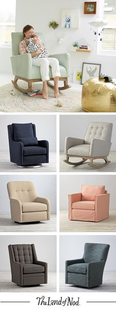 Our modern upholstered rocking chairs and gliders are expertly crafted and designed for the nursery, bedroom or even the living room. — I love the chair in the main photo Nursery Room, Girl Nursery, Girl Room, Baby Room, Nursery Decor, Nursery Ideas, Upholstered Rocking Chairs, Rocking Chair Nursery, Nursery Neutral