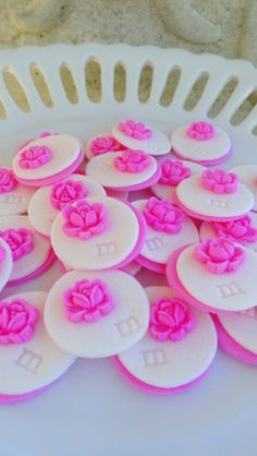 Monogram Cupcake Topper Hot Pink Candy Flower 12 by SugarCakeShop