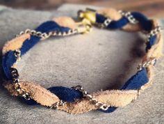 Modèle Beige Bleu : DIY bijoux tressé en daim
