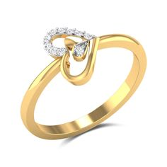Fused Hearts Diamond Ring