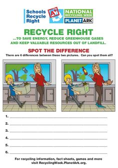 SPOT THE DIFFERENCE  There are 6 differences between these two pictures. Can you spot them all?  For recycling information, ...