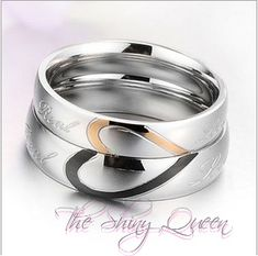 Heart Shape Matching Titanium Steel Lovers Promise Ring Couple Wedding Bands This lovely pair of couples' rings will always remind you of each others love. These titanium/stainless steel rings are a perfect match: Half a heart on each when put together forms one full heart. (Price is $15.00 p...