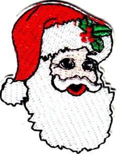 """[Single Count] Custom and Unique (2 1/2"""" x 2"""" Inches) Seasonal Holiday Festive Xmas Christmas Santa Clause With Holly Cap Iron On Embroidered Applique Patch {Green, Red & WhiteColors"""