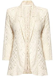 Cream Lace Blazer Jacket Summer Casual Party Top Beige Womens Ladies