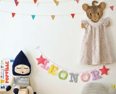 Fabric Name Garland for Kids via Paul & Paula