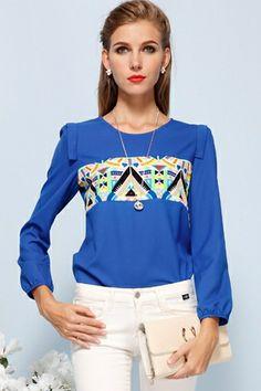 Colors Triangle Chiffon Blouse in Blue [FDBI00573] - PersunMall.com
