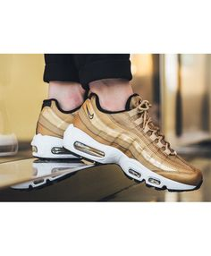 Get the latest discounts and special offers on nike air max 95 premium qs metallic gold black white varsity red trainer & shoes, don't miss out, shop today! Nike Air Max Trainers, Red Trainers, Air Max Sneakers, Cheap Nike Air Max, Nike Air Max For Women, Nike Women, Air Max 95, Sneaker Magazine, Womens Fashion Sneakers