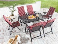 Die Tischgruppe Milos 13-teilig besteht aus 1 Tisch, 6 Klappsesseln aus Metallgeflecht und den passenden Auflagekissen in der Farbkombination rot/weiß. Genießen Sie mit Familie oder Freunden eine schöne Zeit im Garten oder auf der Terrasse.